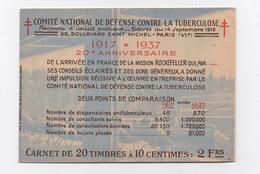 Comité National De Defense Contre La Tuberculose - Carnet De 20 Timbres / Vignettes - Publicité Nestlé - Vieux Papiers