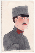 Carte Postale Fantaisie Militaire Fait Peinte Main Painted Hand Colorisée Signée Dessin Illustrateur- UNIQUE - - Personaggi
