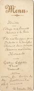 Menu 1896 Pour De Clercq Politique - Menus