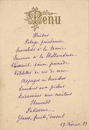 Menu Ancien 1887 Chez Muuls Pour De Clercq Politique - Menus