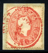 AUSTRIA 1860 Franz Josef 5 Kr Perf. 14 Used On Piece With Red Postmark.  ANK20 €20 - 1850-1918 Empire