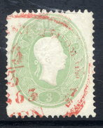 AUSTRIA 1860 Franz Josef 3 Kr Perf. 14 Used With Red Postmark.  ANK19 €140 - 1850-1918 Empire