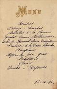 Menu Ancien 1894 Chez Vanderghoote Pour De Clercq Politique - Menus