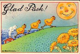 Mini AK - Small Card - Miniature - Easter - Schwedish - GLAD PÅSK - Sweden - Artist Signed: S. Beckman - Pasqua