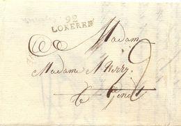 Lokeren Naar Gent 24 Mei 1820 Met 92 LOKEREN (Herlant 28 Zeer Laat Gebruik) Port 2 Deciem - 1815-1830 (Période Hollandaise)