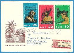 Deutschland / DDR /Germany 1965: Nr. 1084-1086 - Satz 90. Geb. A. Schweizer: FDC / Einschreiben Ilmenau-BRD° - FDC: Enveloppes