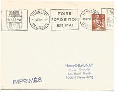 OBLITERATION MECANIQUE DE TONNEINS LOT ET GARONNE DU 10/6/1958 - Marcophilie (Lettres)