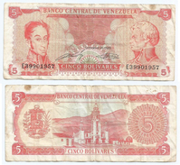 Venezuela 5 Bolivares 1989 Pick 70.b Ref 1244 - Venezuela