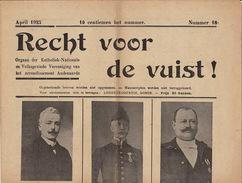 Journal Ancien Catholique RECHT DER VUIST Catholique Katholiek Audenaarde Avril 1925 N° Spécial élection Liste 5 - Journaux - Quotidiens