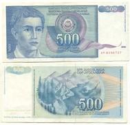 Yugoslavia 500 Dinara 1990 Pick 106 Ref 83062 - Yugoslavia