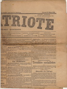 Journal Ancien Politique LE PATRIOTE 27 Mars 1886 Trouble Socialiste Bassin De Liège - Journaux - Quotidiens