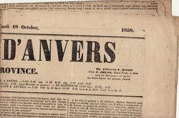 Journal Ancien JOURNAL D'ANVERS ET DE LA PROVINCE 17-18 Octobre 1858 - Journaux - Quotidiens