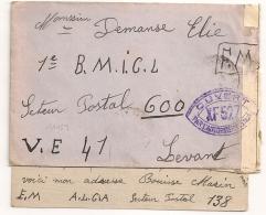 Censure XF527, Origine S.P. 138, E.M, A.L.G.A Pour V.E, Levant. - Marcophilie (Lettres)