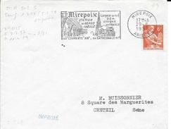 ARRIEGE  -  MIREPOIX    FLAMME   MIR  502 S -   AU TARIF   IMPRIME   1957  (voir Description) - Postmark Collection (Covers)