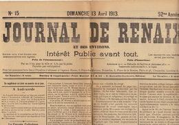 Journal Ancien JOURNAL DE RENAIX 13 Avril 1913 Audenarde Congrès Catholique Woeste Demalander - Newspapers