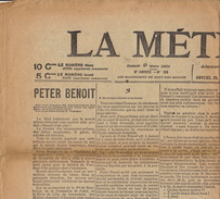 Journal Ancien LA METROPOLE Anvers 9 Mars 1901 Peter Benoit - Journaux - Quotidiens