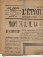 Journal Ancien L'ETOILE BELGE 17 Décembre 1909 Mort Du Roi Leopold II - Journaux - Quotidiens