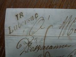 "LUBERSAC 18 ""CURSIVE"" CORREZE  C.A.D TYPE 13  D'UZERCHE 1847 INDICE 9 COTE 55 EUROS - 1801-1848: Precursori XIX"
