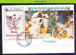 Ncs2112b WALT DISNEY SNEEUWWITJE SNOW WHITE DWARFS CHRISTMAS SQUIRREL RABBIT BIRDS GRENADINES OF ST. VINCENT 1991 FDC - Disney