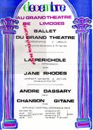 87 - LIMOGES - PROGRAMME + AFFICHE AU GRAND THEATRE -OFFENBACH  -CARZOU- LA PERICHOLE AVEC JANE RHODES-ANDRE DASSARY - - Programs