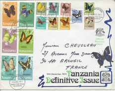 Lettre Décorée, Thématique Papillon, Tanzanie Pour La La France 1973 TB - Papillons