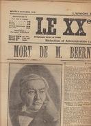Journal Ancien Catholique LE XXè SIECLE La Mort Du Ministre Beernaert - Journaux - Quotidiens