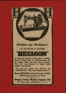 MACHINES A COUDRE - PUB HEXAGON - Pub Issue D'une Revue De 1922 Collée Sur Carton - Publicités