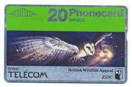 British Telecom, Phonecard 20, Thème, Oiseaux, Chat-huant, Barbagianni, Barn Owl - Gufi E Civette