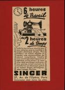 MACHINES A COUDRE - PUB SINGER - Pub Issue D'une Revue De 1938 Collée Sur Carton - Publicités