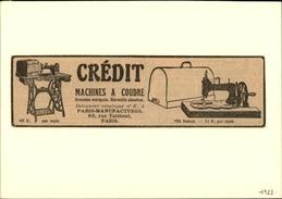 MACHINES A COUDRE - PUB CREDIT - Pub Issue D'une Revue De 1922 Collée Sur Carton - Publicités