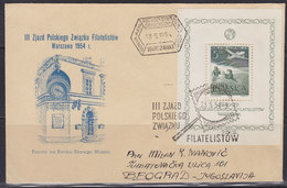 Poland 23.V.1954 Polish Philatelic Association 3rd Meeting, Airmail Letter From Warsaw To Beograd (YU) - Luftpost