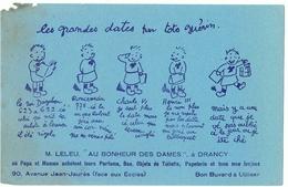 Ancien Buvard Avec Publicité Magasin Au Bonheur Des Dames M. Leleu à Drancy (seine St Denis) - Illustration Enfants - Blotters