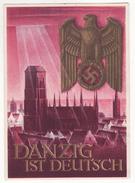 DANZIG (Poland-Polen-Polska-Pologne) Propagande 3 ème Reich Entier Postal Guerre 1939-1945-Aigle-Grand Format 10 X 15 Cm - Guerre 1939-45