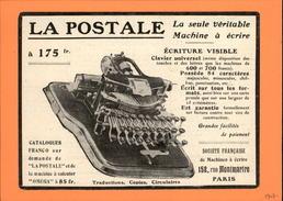 MACHINES A ECRIRE - PUB LA POSTALE - Issue D'une Revue De 1907 Et Collée Sur Carton - Publicités