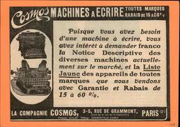MACHINES A ECRIRE - PUB COSMOS - Issue D'une Revue De 1907 Et Collée Sur Carton - Publicités