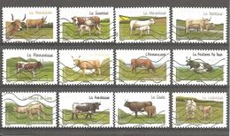 France 2014  Y T N ° 953/964  Adhésifs Autocollants Les Vaches De Nos Régions  Série Complète Oblitérée - France