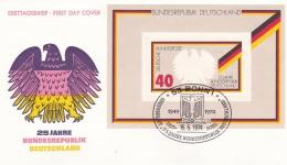 Germany FDC 1974 25 Years Bundesrepublik Souvenir Sheet  (T4-6) - FDC: Buste