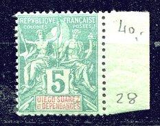 Diego Suarez.* * - N° 28 - 5 C Vert - Bord De Feuille - Used Stamps