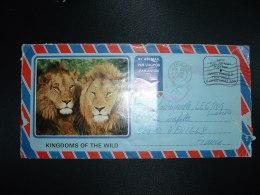CL PAR AVION AFFIX FULL AIR MAIL POSTAGE OBL.MEC.27 III 1981 DURBAN + TAXE + LIONS + ELEPHANTS - Afrique Du Sud (1961-...)