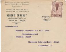 851/24 - Enveloppe TP Ballon Piccard GENT Vers BRUSSEL - Griffe D' Origine TEMSCHE TAMISE - Entete   Baskets Debbaut - Poststempel