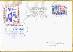 1988 AJACCIO - Lettre Avec Vignette GREVE PTT 1988 Courrier Privé - Strike Stamps