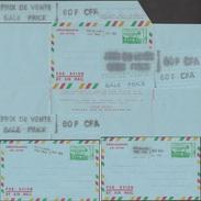 Cameroun 1971. 3 Aérogrammes Surchargés, Dont Surcharge Double. Réunification, Carte Du Cameroun, Paysage, Volcan - Kamerun (1960-...)