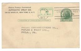 UX39 Advertising Postal Card Preprinted Automatic Spray NY No Day Time Date Slug Church Street Station - Postal History