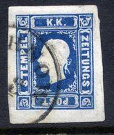 AUSTRIA 1859 1.05 Kr Deep Blue Newspaper Stamp Fine Used.  Michel 16, ANK 16b  €1000 - Newspapers