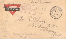 Correspondance Base Canadienne Dans Le Jura - Y.M.C.A.Passed By Censor - Ambulant Pontarlier-Dole - Marcophilie (Lettres)