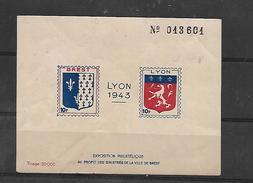 Lyon 1943 - Exposition Philatélique Au Profit Des Sinistrés De Brest - Erinnofilia