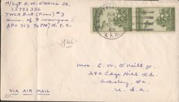 Lettre Depuis Régiment Américain à Besançon Pour Les USA - Marcophilie (Lettres)