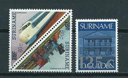 1988 Suriname Complete Set Overprint,trains,railway MNH/Postfris/Neuf Sans Charniere - Surinam
