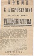 NORME E DISPOSIZIONI PER CHI SI RECA IN VILLEGGIATURA - 1942 - Documents Historiques