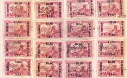 BRITISH OCCUPATION IN IRAQ - 1917 - ONE ANNA OVERPRINT ON OTTOMAN STAMP - 16 PIECES - SIGNATURE ON EACH STAMP - SCARCE - Great Britain (former Colonies & Protectorates)